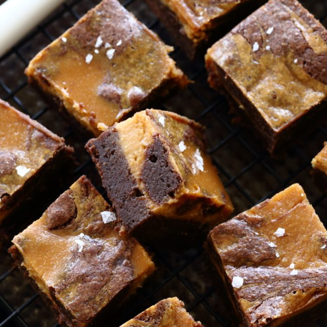 salted caramel cheesecake brownie