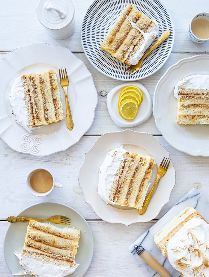 עוגת שכבות לימון קרמל ומרנג