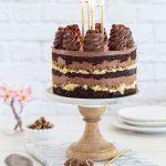 עוגת יום הולדת - עוגת שכבות שוקולד עם קוקוס וקרנצ׳ פקאן